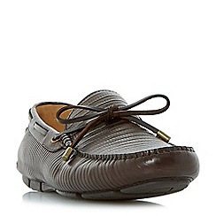 Dune - Brown 'Botswana' lizard embossed driver loafers