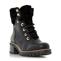 Dune - Black 'Rochelle' warm lined lace up ankle boots