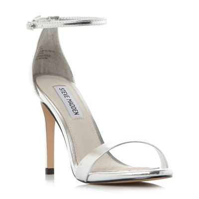 Steve Madden Silver 'Stecy' high stiletto heel ankle strap sandals |  Debenhams