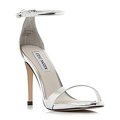Steve Madden - Silver 'Stecy' high stiletto heel ankle strap sandals