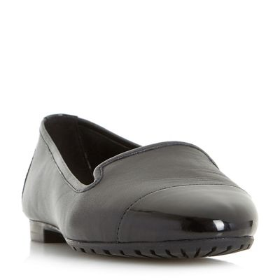 Dune - Black 'W geneveve' wide fit toecap detail slipper cut shoes