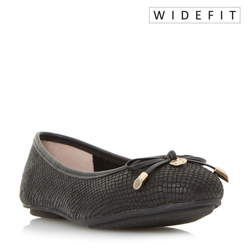 Dune - Black W Hype Wide Fit Bow And Coin Trim Ballerina Shoes