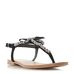 Head Over Heels by Dune - Black 'Leonia' pearl trim t-bar flat sandals