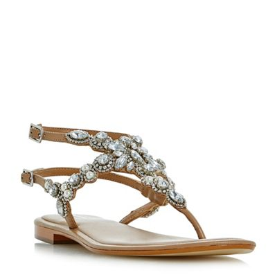 Dune - Tan 'Nuevo' double buckle strap embellished flat sandals