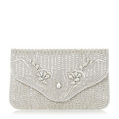 Dune - Silver 'Ezzo' flap over beaded clutch bag