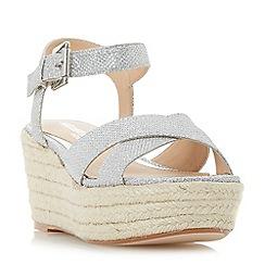 Head Over Heels by Dune - Silver 'Kyli' espadrille wedge sandals