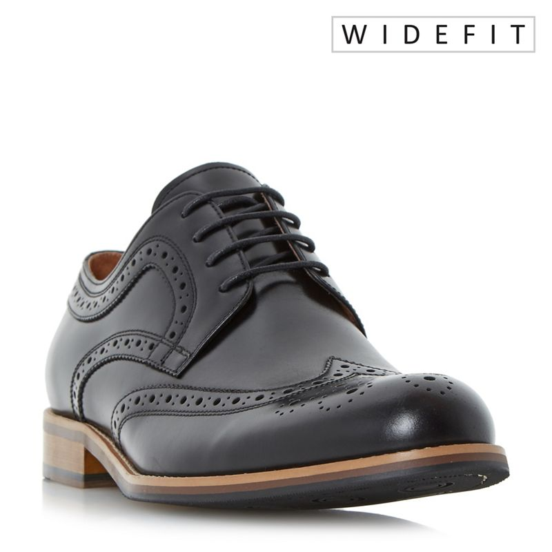Dune - Black Wradcliffe Wide Fit Derby Brogue Shoes