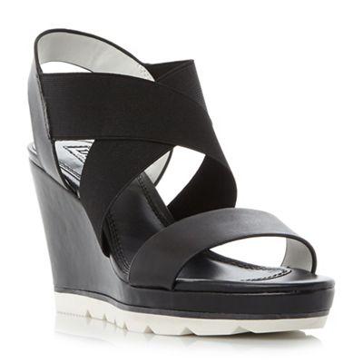 Dune - Black 'Kalifornia' white outsole cross strap wedge sandals