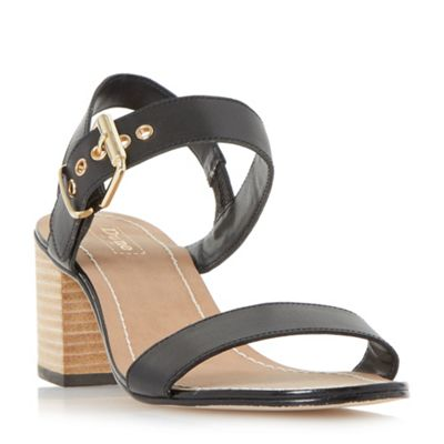 Dune   Black 'jany' Block Heel Buckle Sandals by Dune
