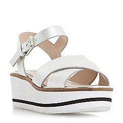 Dune - Silver 'Kassius' white eva shark sole  flatform sandals