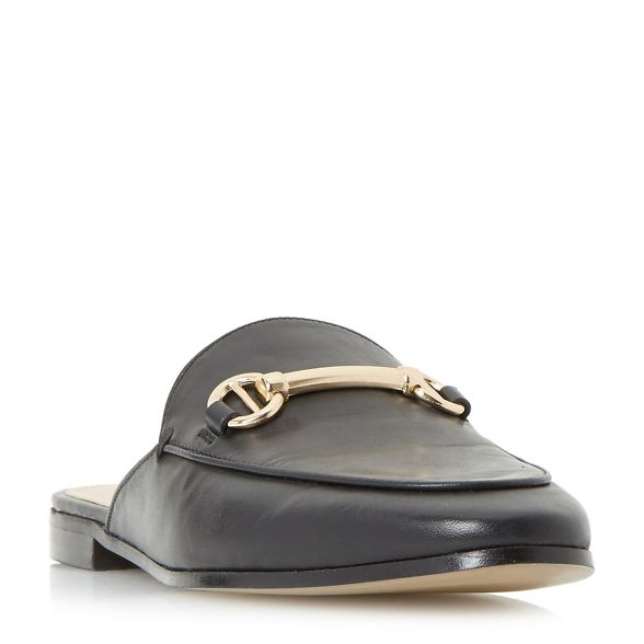 trim metal loafer backless saddle shoes Dune 'Gene' Black AwWxcq8gEI