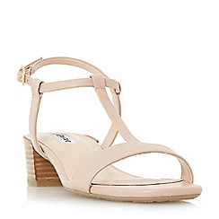 Dune - Natural 'Issie' t-bar stacked heel sandals