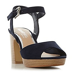 Head Over Heels by Dune - Navy 'Jewel' two part stacked heel sandals