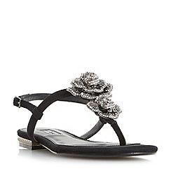 Dune - Black 'Mulligan' jewel floral brooch sandals