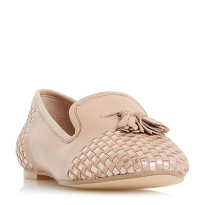 Dune - Light pink 'Gentle' woven tassel loafer shoes