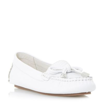 Dune Dune Dune - White 'Genovia' bow detail loafer shoes b53f31