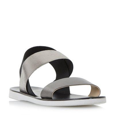 Dune - Black 'Lacer' elasticated strap flat sandals
