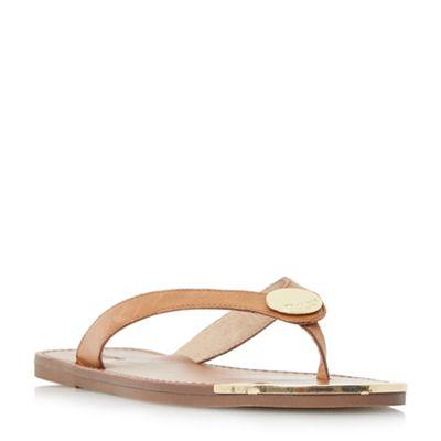 Dune - Tan 'Lagos' metal disc trim toe post sandals