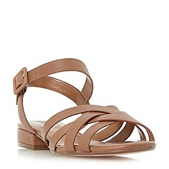 Dune - Tan 'Insley' woven strap block heel sandals