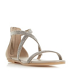 Dune - Grey 'Niftey' cross strap flat sandals