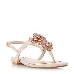 Dune - Light pink 'Mulligan' jewel floral brooch sandals
