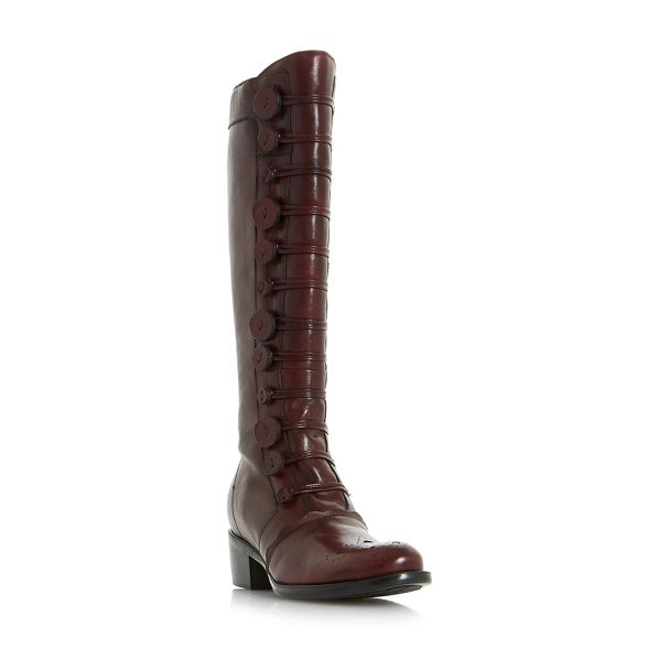 high 'Pixie boots button leather Maroon knee Dune d' detail g6xwRFg0n