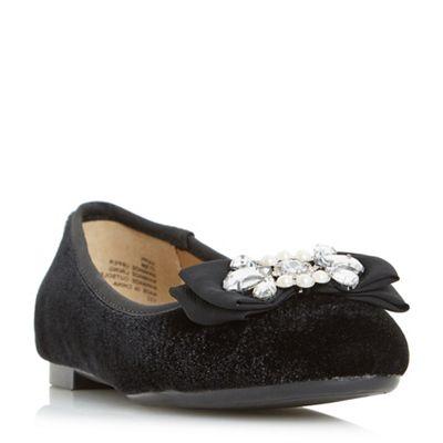 Head Over Heels by Dune - Black 'Happi' pearl and jewel trim ballerinas