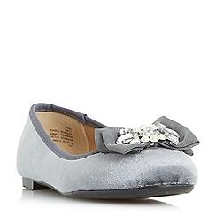 Head Over Heels by Dune - Grey 'Happi' pearl and jewel trim ballerinas
