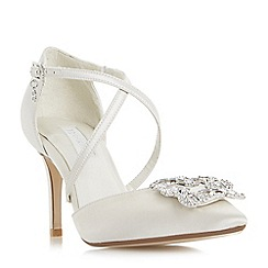 Dune - Ivory 'Deeana' cross strap jewelled brooch court shoes