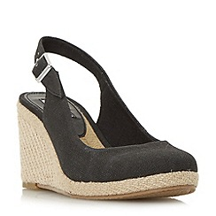 Dune - Black 'Kanvas' slingback wedge shoes