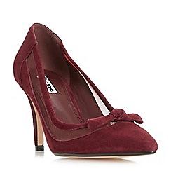 Dune - Dark red 'Blume' mesh panel point toe court shoes