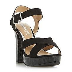 Head Over Heels by Dune - Black 'Miya' cross over platform sandals