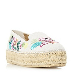 Dune - Multicoloured 'Glamour' embroidered flatform espadrille loafers