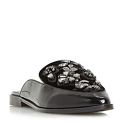 Dune - Black 'Gemily' jewel embellished loafer mules