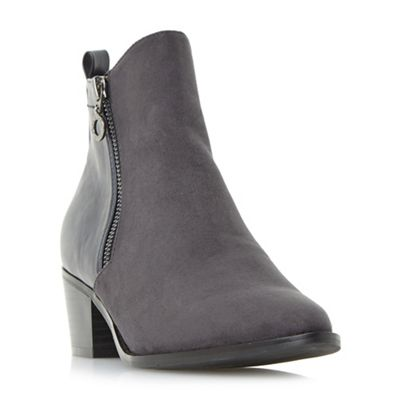 Head Over Heels by Dune - Grey 'Pilar' point toe side zip ankle boots