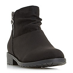 Head Over Heels by Dune - Black 'Perci' side zip ruched flat ankle boots