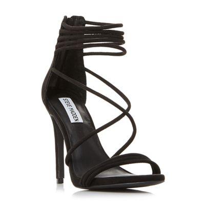 Steve Madden - Black suede 'Answer' high stiletto heel ankle strap sandals