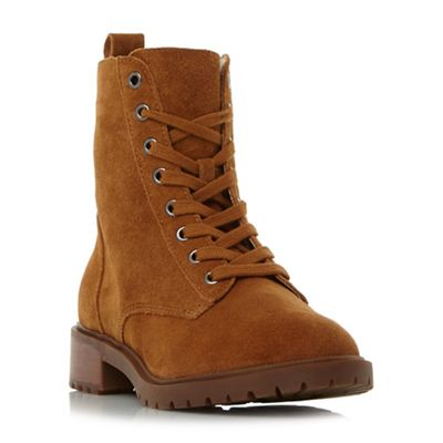 Steve Madden - Taupe leather 'Officer' block heel biker boots