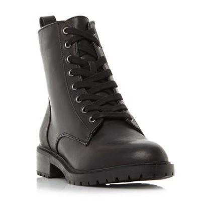 Steve Madden   Black Leather 'officer' Block Heel Biker Boots by Steve Madden