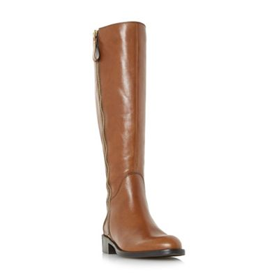Dune - Tan 'Tillyy' side zip leather riding boots