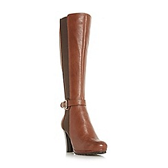 Dune - Tan 'Sebb' stretch panel knee high boots