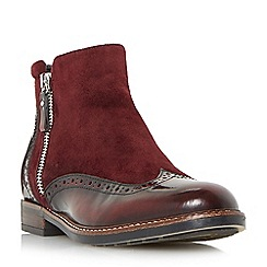Dune - Maroon 'Pandalla' mixed material side zip brogue ankle boots