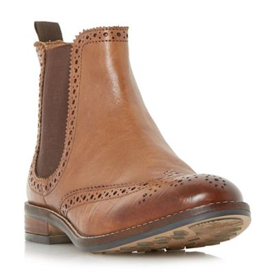 Dune - Tan 'Quentons' brogue detail chelsea boots