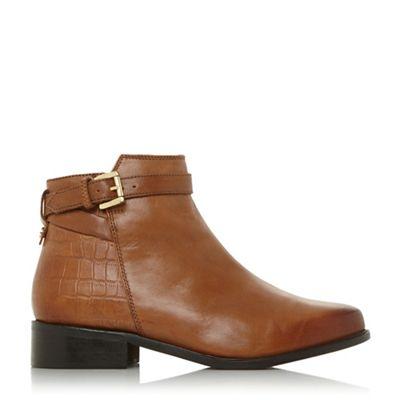 Dune - Tan 'Poppy' buckle detail side zip ankle boots