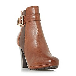 Dune - Tan 'Orine' buckle strap heeled ankle boots