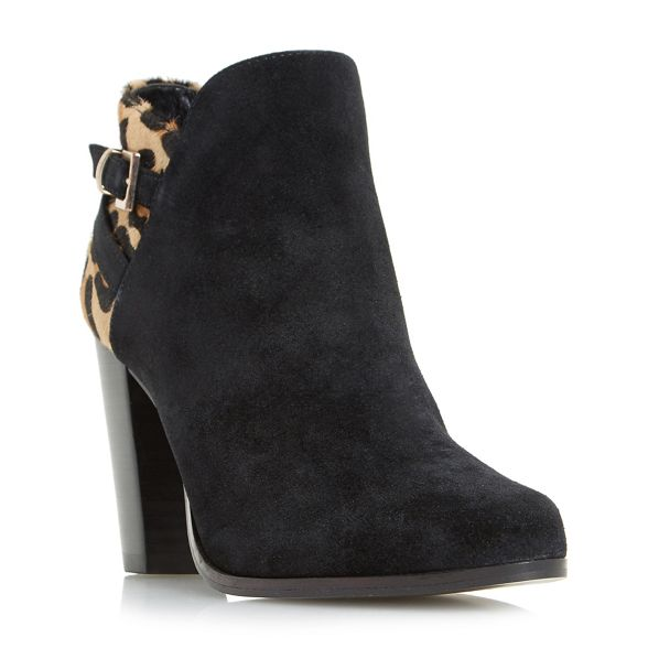 ankle buckle high 'Oak' Black detail boots Dune heel qwY6SEP