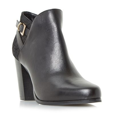 Dune - Black 'Oak' buckle detail high heel ankle boots