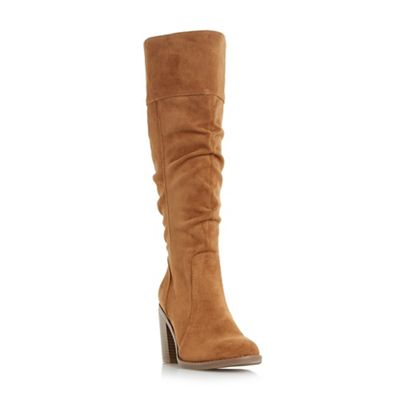 Head Over Heels by Dune - Tan 'Tamika' ruched knee high boots