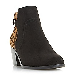 Head Over Heels by Dune - Black 'Pascalle' side zip buckled ankle boots