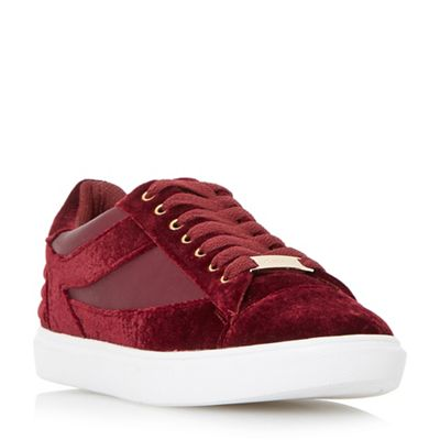 Head Over Heels by Dune - Maroon 'Elize' mixed material lace up trainers